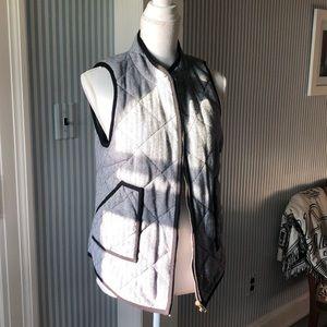 Quilted black trim vest